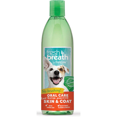 Tropiclean Fresh Breath Oral Care Water Additive plus Skin and Coat 16 oz