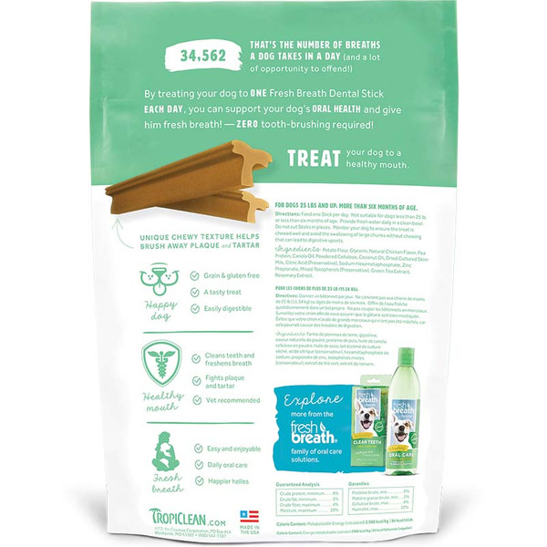 Back of Bags for Regular Tropiclean Dental Sticks for Dogs at Ryan's Pet Supplies