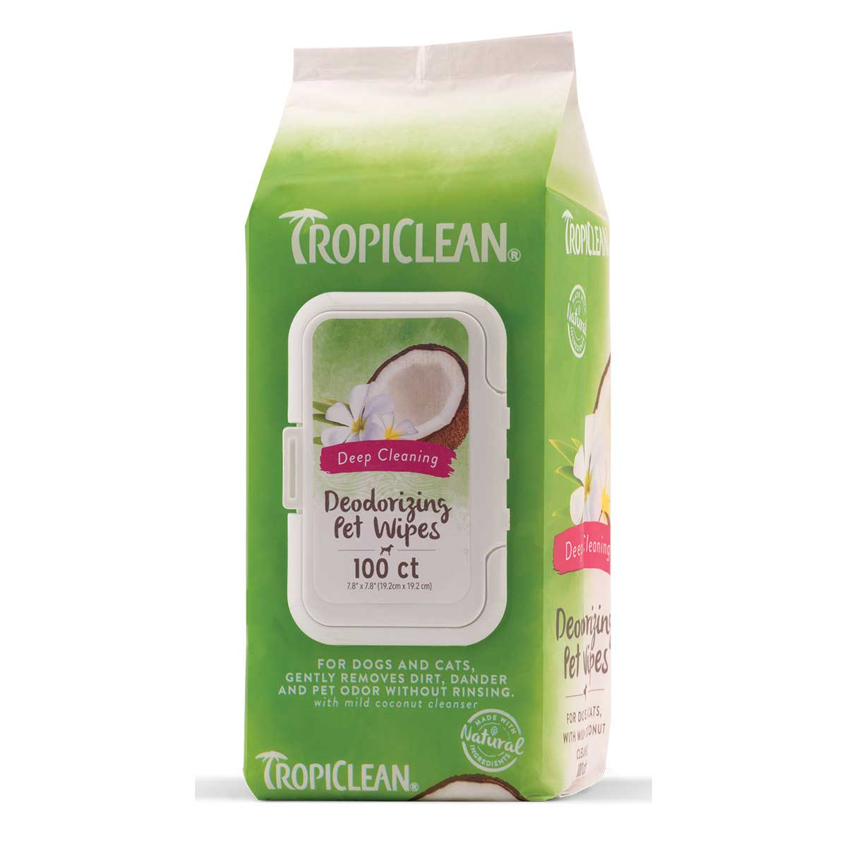 Tropiclean Deep-Cleaning Deodorizing Pet Wipes 100 Count