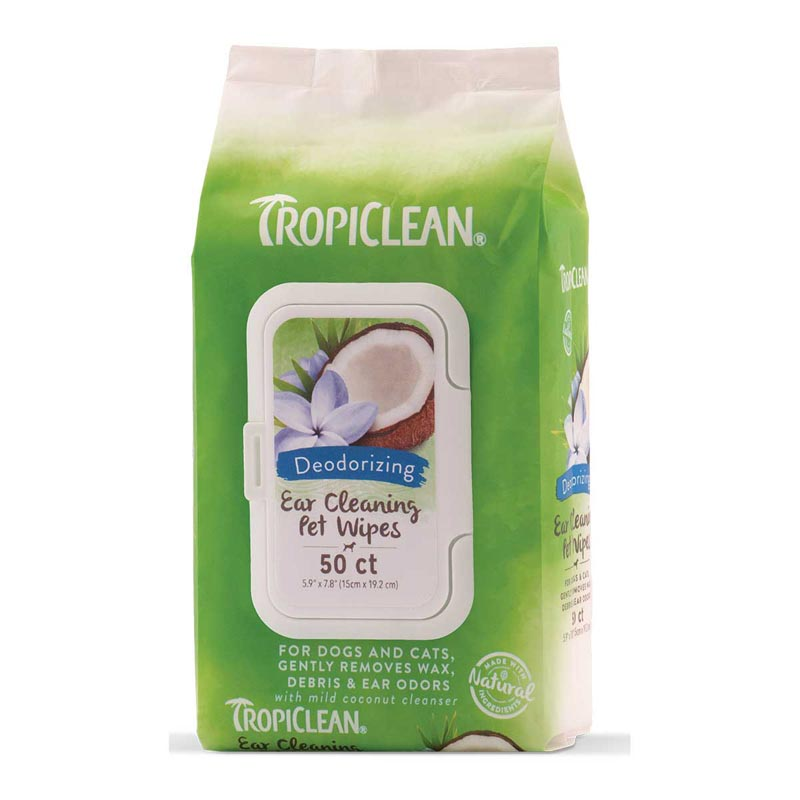 Tropiclean Ear Cleaning Deodorizing Pet Wipes for Dogs 50 Count