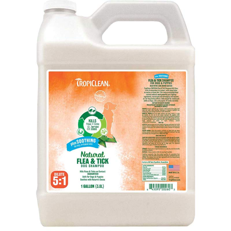 Tropiclean Natural Flea & Tick Shampoo for Dogs Plus Soothing Gallon
