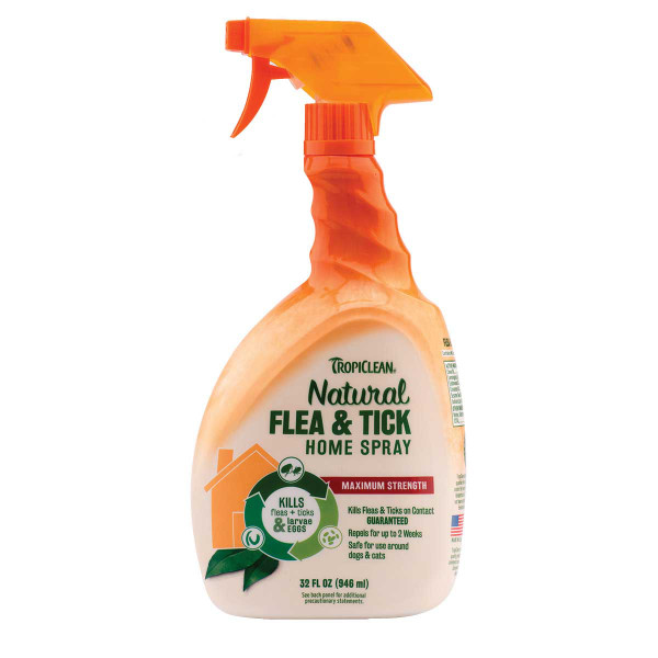Tropiclean Flea and Tick Spray For Home - Maximum Strength 32 oz