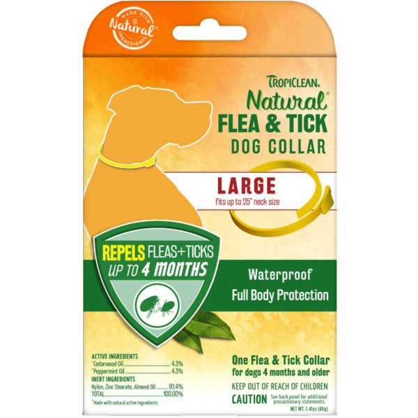 Large Dog Tropiclean Flea and Tick Collar repels fleas and ticks for up to 4 months