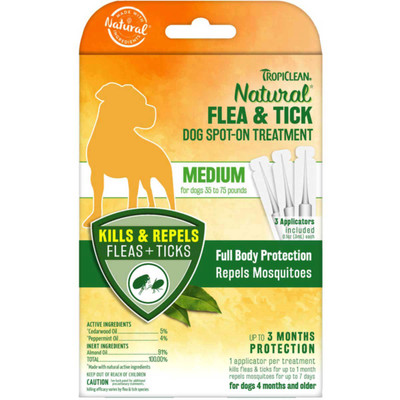 Tropiclean Flea and Tick Spot On - Medium Dogs 35-75 lbs