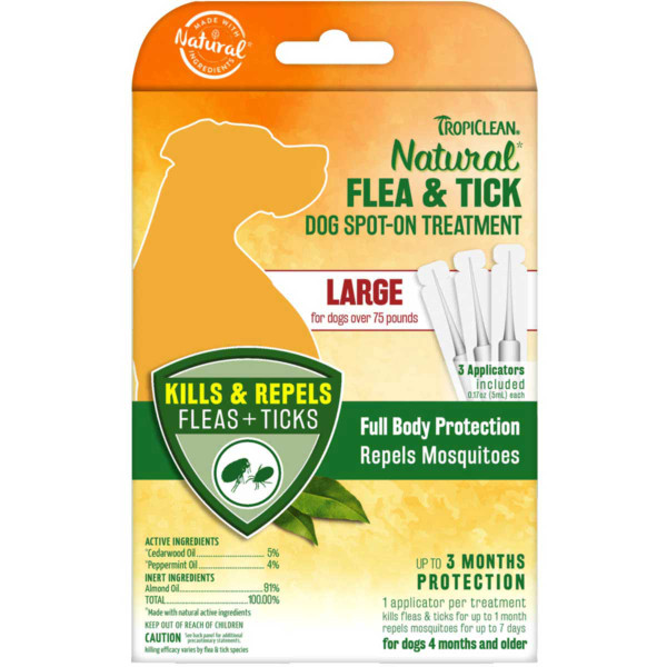 Large Dog Tropiclean Flea and Tick Spot On Topical Treatment for Dogs Over 75 lbs