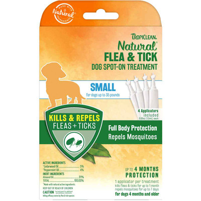 TropiClean Natural Flea & Tick Spot On Treatment Small Dog 4 Count