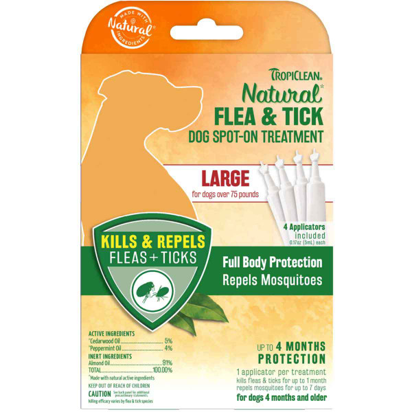 TropiClean Natural Flea & Tick Spot On Treatment Large Dog 4 Count