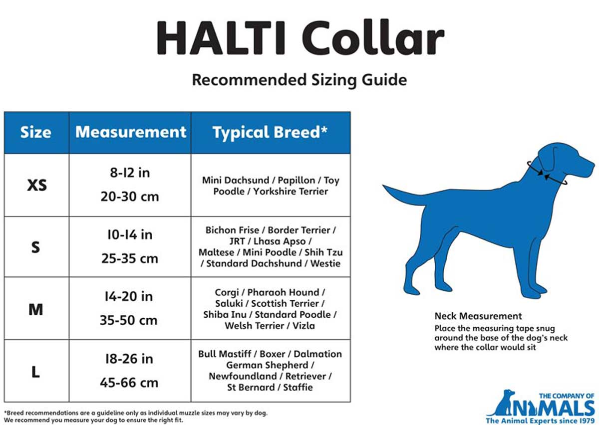 Black Halti Training Collar Recommended Sizing Guide