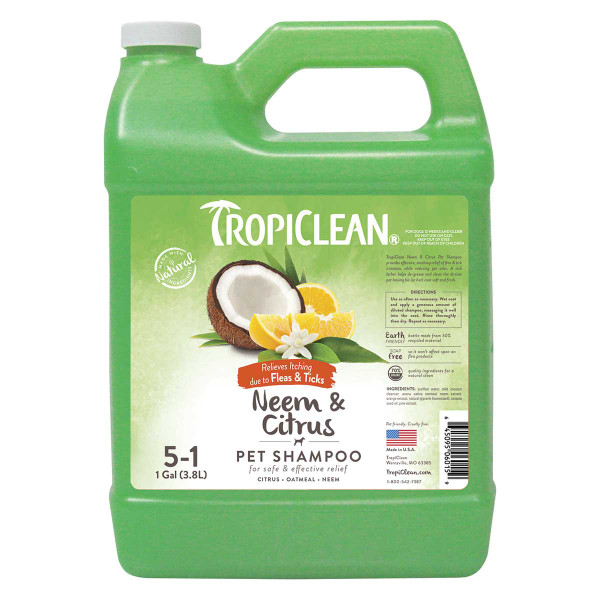 Gallon of Tropiclean Fleas and Ticks Neem and Citrus Shampoo for Dogs