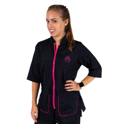 Hot Pink Tikima Carini Shirt with Contrast Zipper and Pocket Accents S-XL