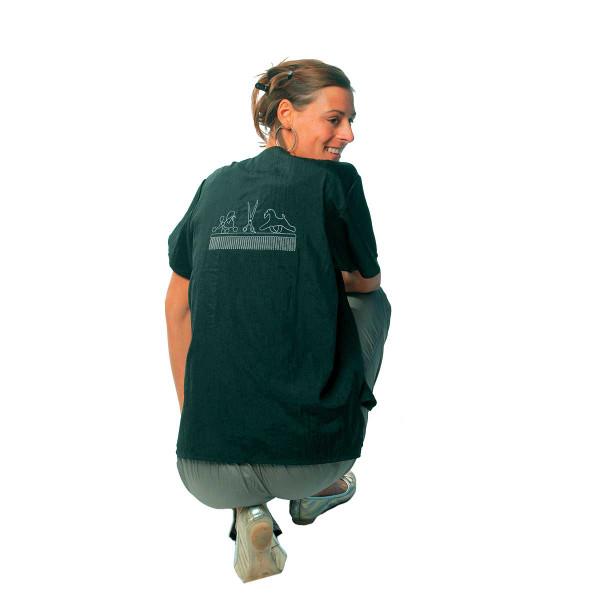 Black 2X-Large Tikima Figari Grooming Shirt Crew Neck with Short Zipper