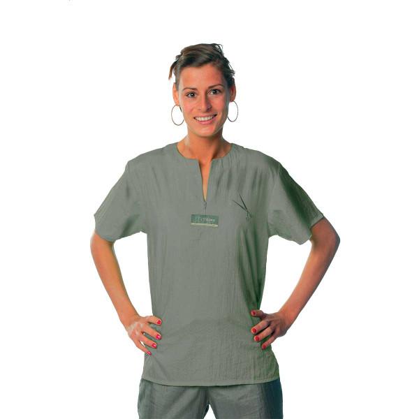 Gray 2X-Large Tikima Figari Grooming Shirt Crew Neck with Short Zipper
