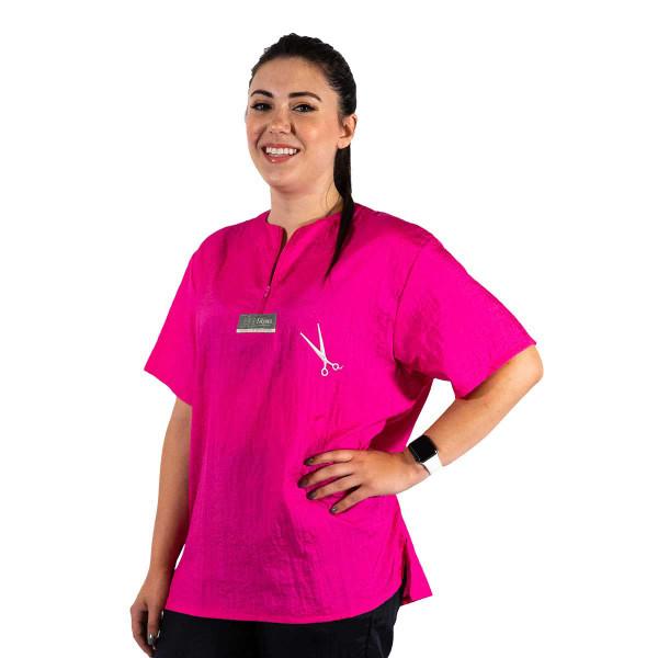 Hot Pink 2X-Large Tikima Figari Grooming Shirt Crew Neck with Short Zipper