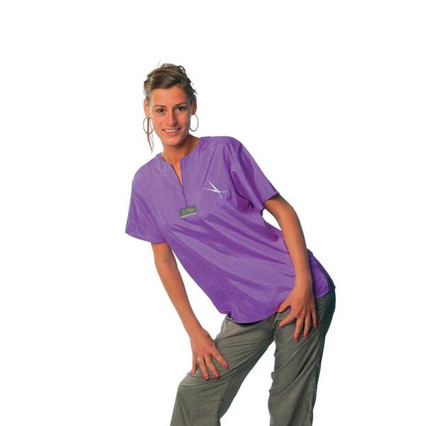 Purple 2X-Large Tikima Figari Grooming Shirt Crew Neck with Short Zipper