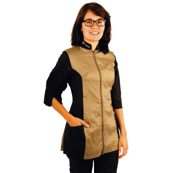 Khaki XLarge-2X-Large Tikima Caprezo Slimming Jacket with 2-Way Front Zipper