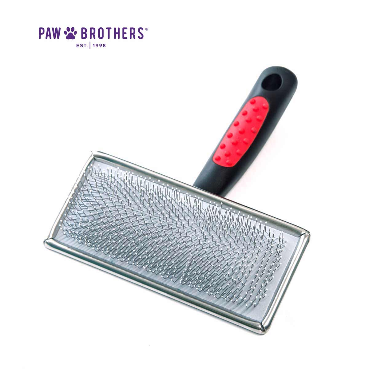 Paw Brothers Large Soft Pin Flat Slicker Brush With Coated Pin Tips