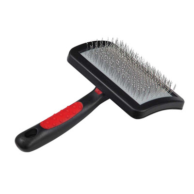 Paw Brothers Large Soft Pin Universal Type Curved Slicker Brush With Coated Pin Tips