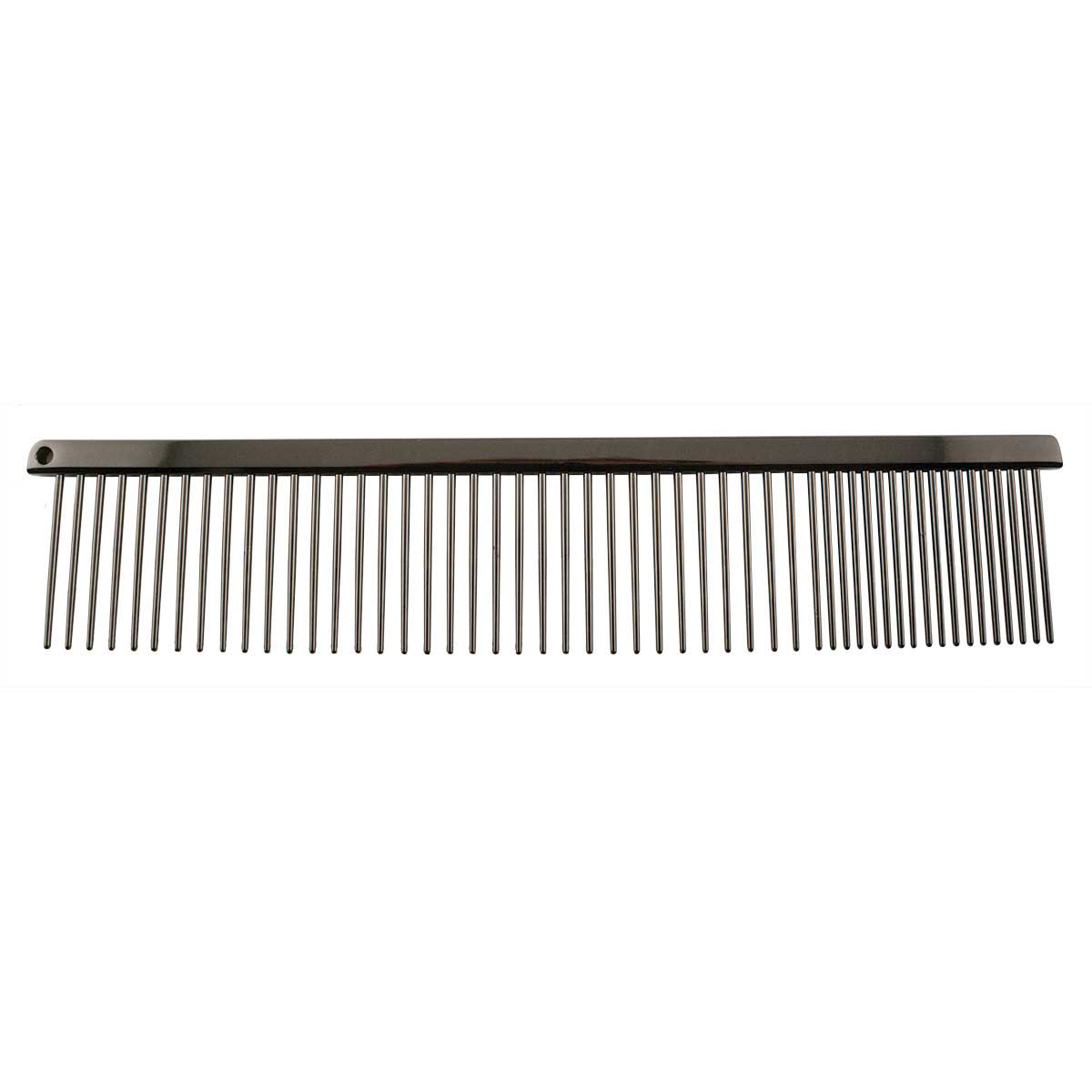 Paw Brothers 7.5 inch Fine and Coarse Greyhound Style Carbon Steel Comb in Black Pearl