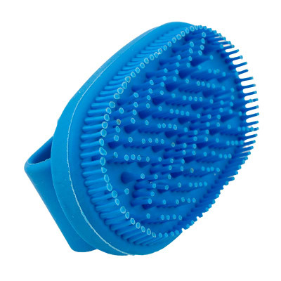 Small Blue Rubber Curry Brush for Short Haired Dog Grooming