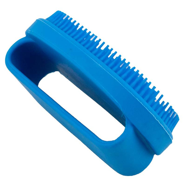 Side angle of Small Blue Rubber Curry Brush