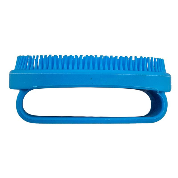 Side View of Small Blue Rubber Curry Brush