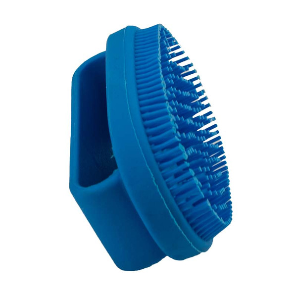 Side of Small Blue Rubber Curry Brush