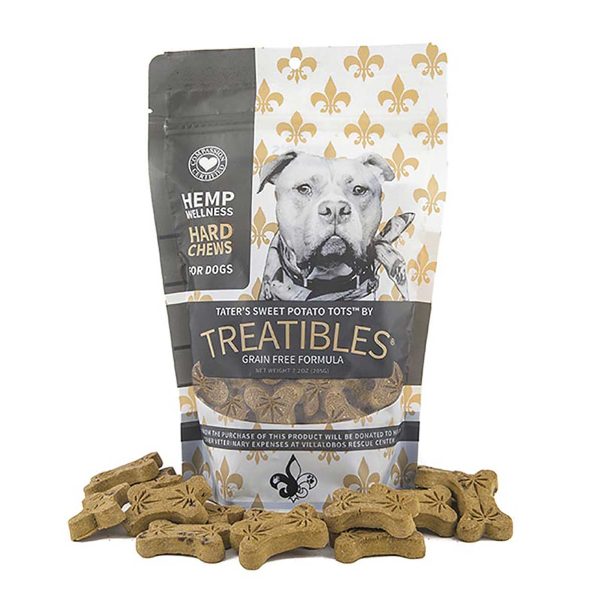 Treatibles Large Sweet Potato Hard Chews for Dogs 4 mg 45 count