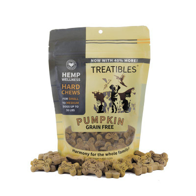 1 mg 75 count Treatibles Small Pumpkin Hard Chews for Dogs