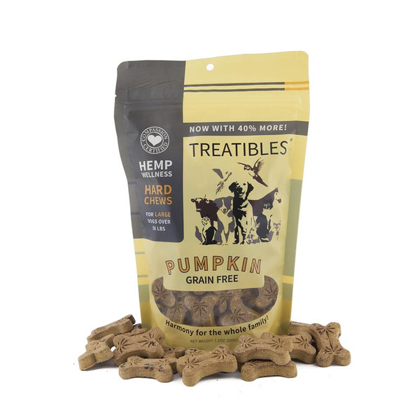 4 mg 45 Count Treatibles Large Pumpkin Hard Chews for Large Dogs