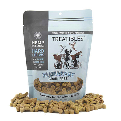 Treatibles Small Blueberry Hard Chews for Dogs 1 mg 75 Count