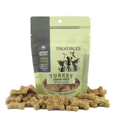 1 mg 14 Count Treatibles Small Turkey Hard Chews for Dogs