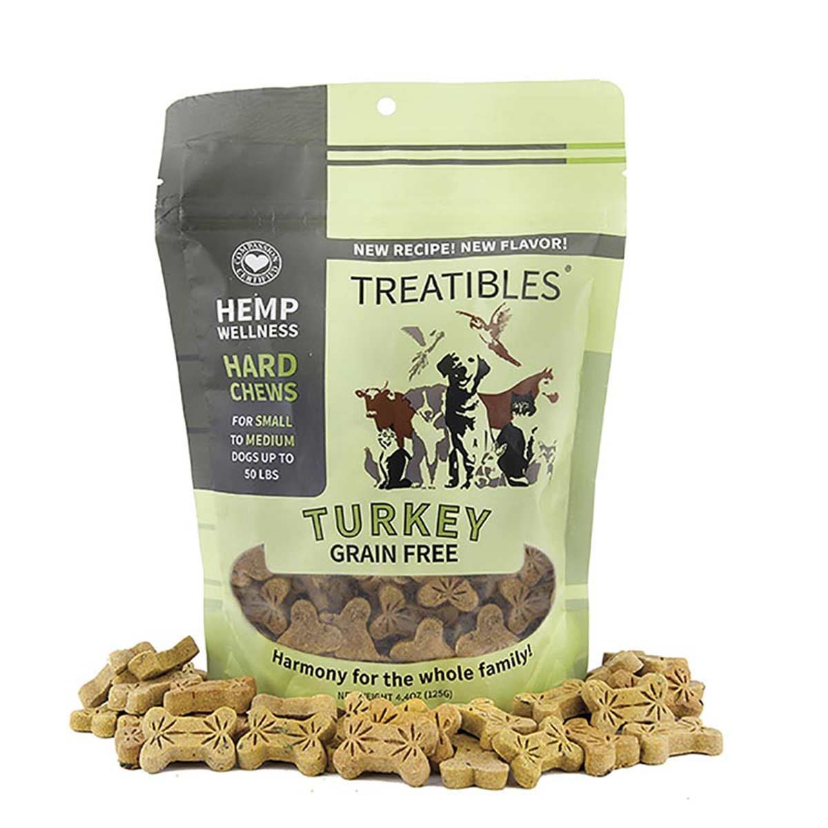 1 mg 75 count Treatibles Small Turkey Hard Chews for Dogs