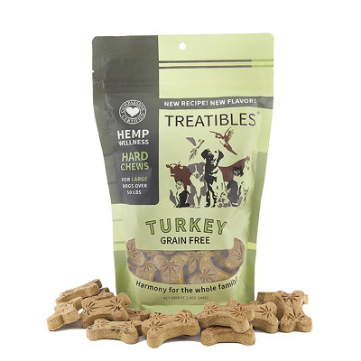 Treatibles Large Turkey Hard Chews for Dogs 4 mg 45 count