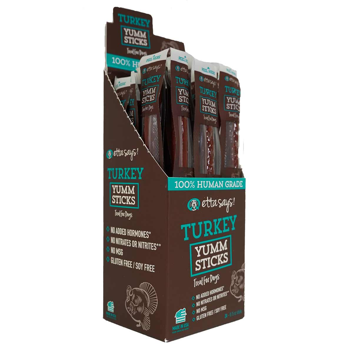 Bulk Dog Treats Etta Says Yuum Sticks Turkey Display Box 24 Count