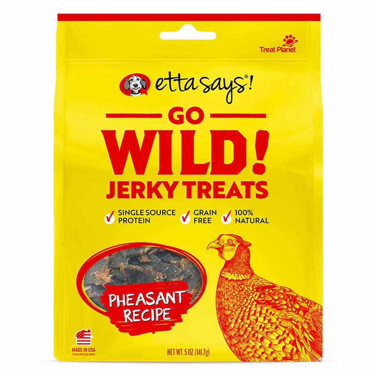 Etta Says Go Wild Jerky Pheasant Recipe 5 oz Dog Treats