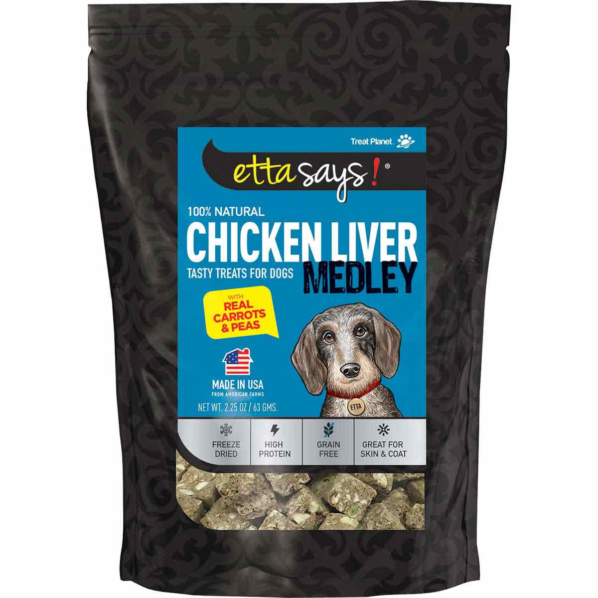 Etta Says! Freeze Dried Chicken Liver with Carrots & Peas 2.5 oz Treats for Dogs