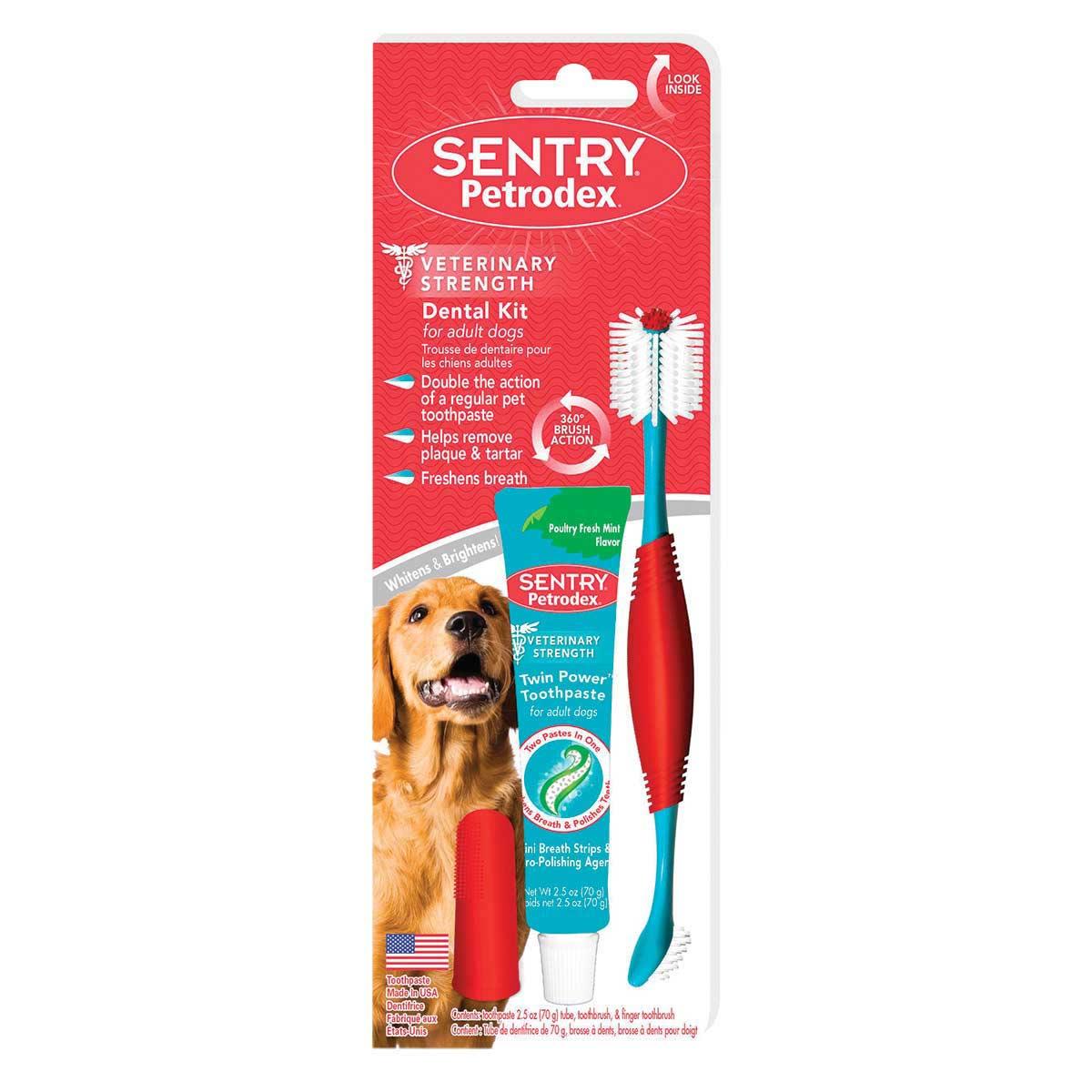 Sentry Petrodex Vet Strength Dental Adult Dental Kit for Dogs