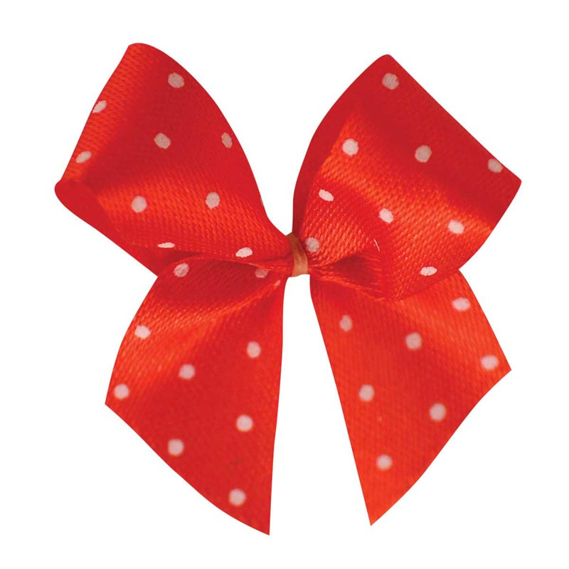 Fancy Finishes Single Polka Dot Satin .625 inch Bows for Dogs - 100 Count Bag