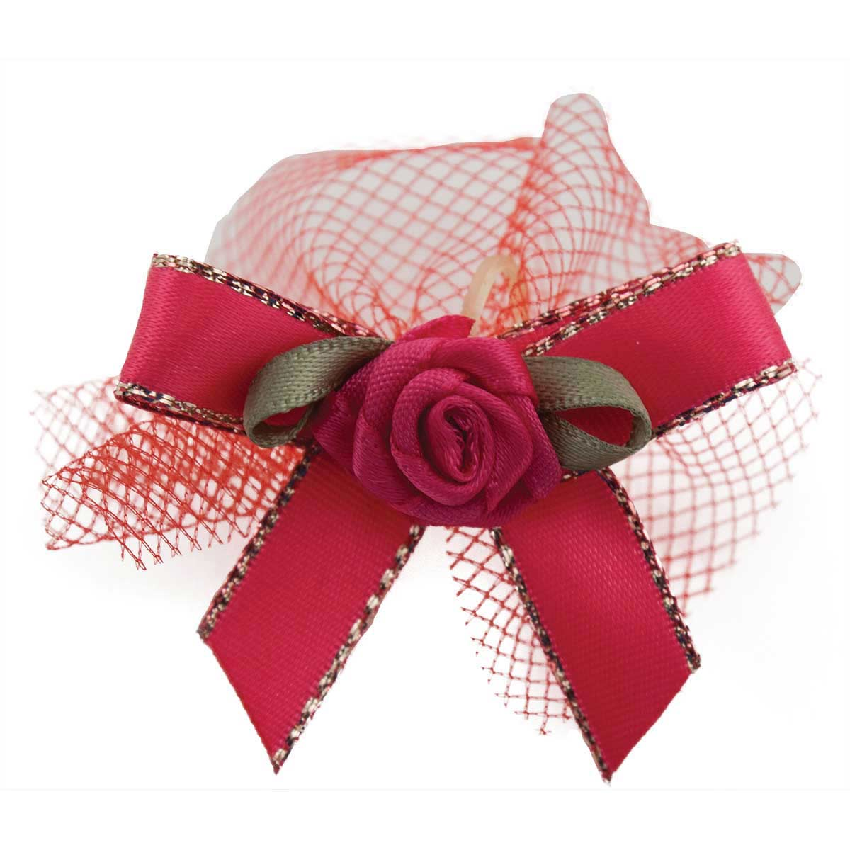 Fancy Finishes Gold Edge Satin Bows With Tulle And Rose Center - 100 Count Bag