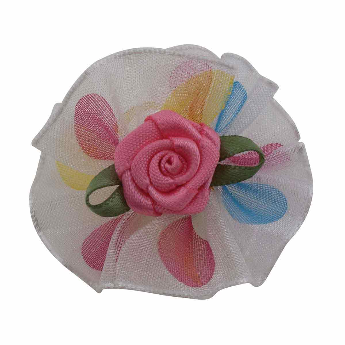 Bag of 100 Fancy Finishes Assorted Dot Print Organza Bows with Rose Center