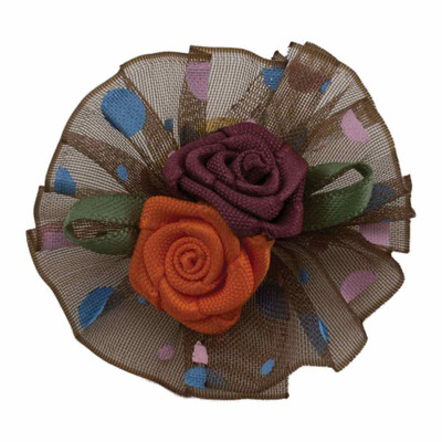 Fancy Finishes Assorted Dot Print Organza Bows with Double Rose Center - 24 Bows