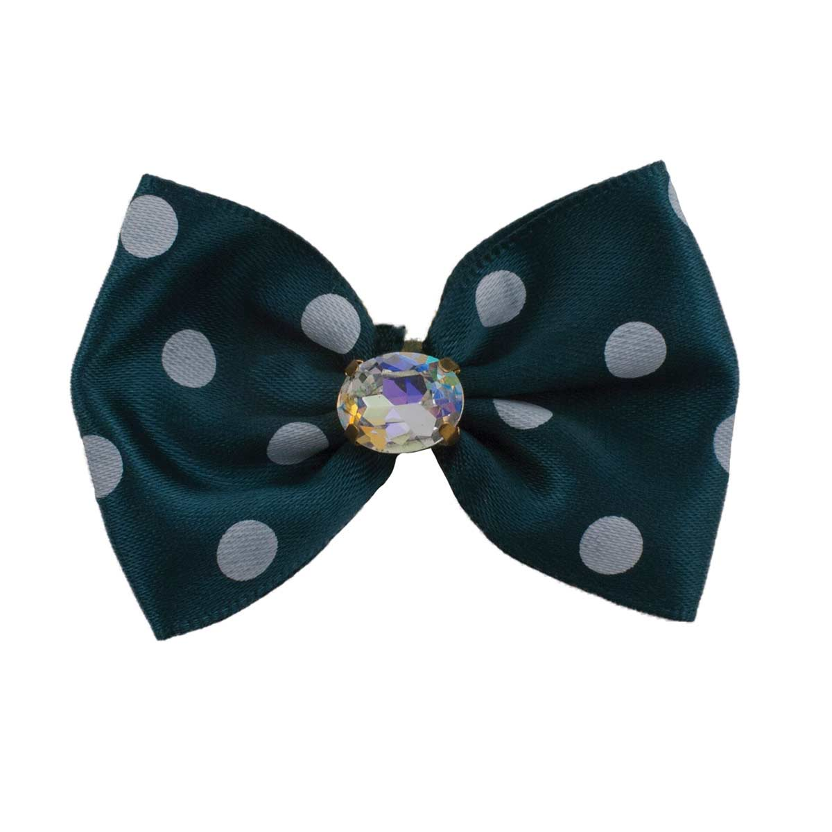 Fancy Finishes Assorted Dot Print Satin Bows for Dogs with Rhinestone - 24 Bows