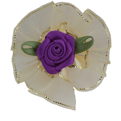 Fancy Finishes Gold Edge Organza Grooming Bows With Rose Center 24 Count