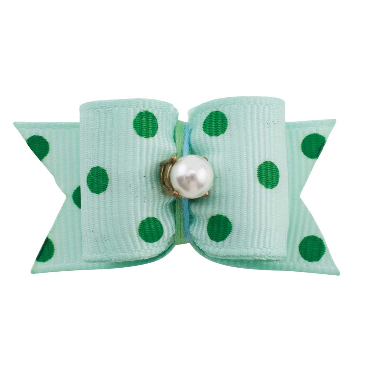Fancy Finishes Grosgrain Polka Dot Grooming Bows With Pearl Center - 24 Count Bag