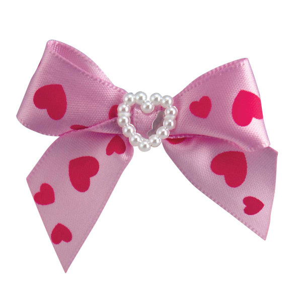 Fancy Finishes Heart Print Satin Bows for Pets With Pearl Heart Center - 24 Count Bag