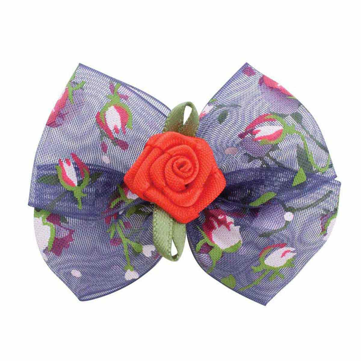 Fancy Finishes Floral Print Organza Bows With Rose Center - 24 Count Bag