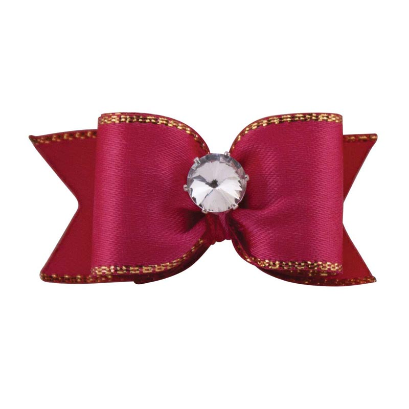 Fancy Finishes Gold Edge Satin Bows With Rhinestone Center 24 Count Bag