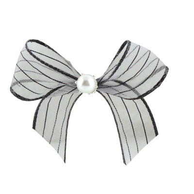 Fancy Finishes Organza Shimmer Stripe Bows With Pearl Center - 24 Count Bag