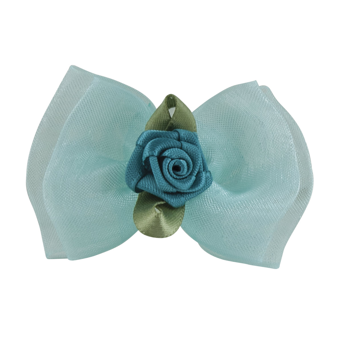 Fancy Finishes Organza Double Bows With Satin Rose Center - 24 Count Bag