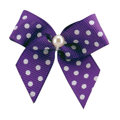Fancy Finishes Polka Dot Grosgrain Bows With Pearl Center - 24 Count Bag